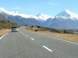 Left sided driving to Mt Cook...