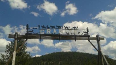 Granite town sign
