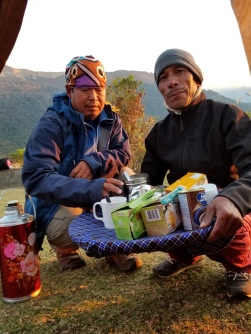 Ram and Takar serving breakfast tea and coffee