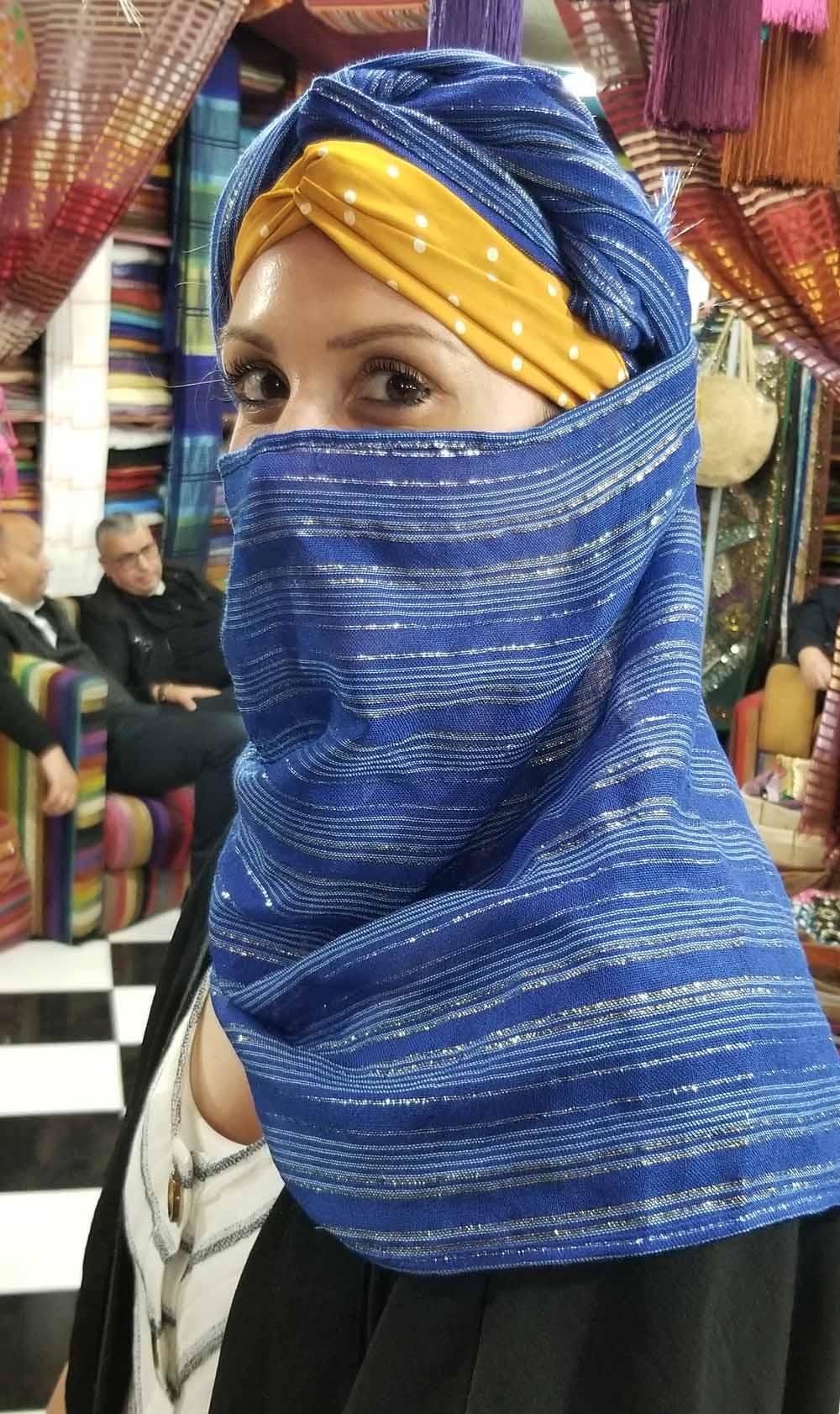 Katie at the Textile shop